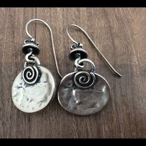 Hammered finished silver metal drop earrings
